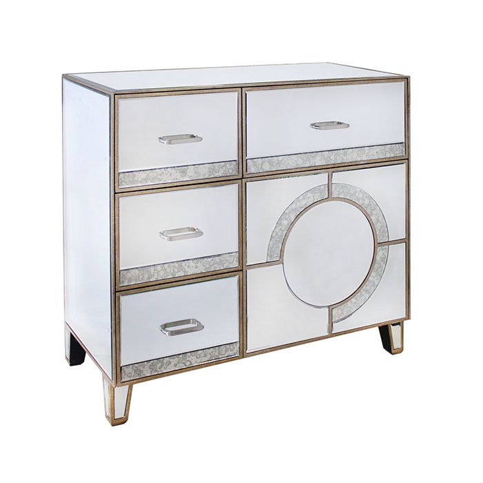 Galaxy Mirrored Champagne Trim 4 Drawer 1 Door Sideboard