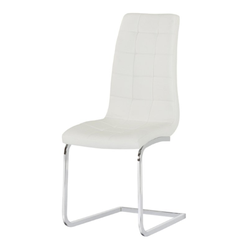 Enzo White Faux Leather & Chrome Dining Chair
