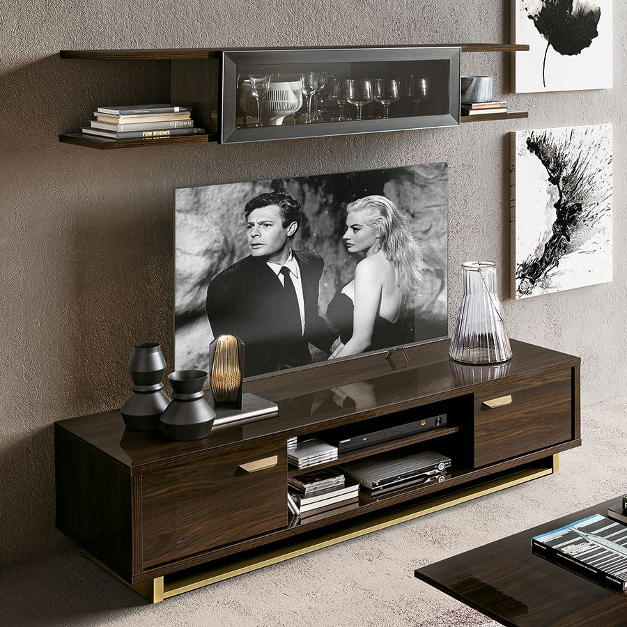 Florentina Walnut & Gold 2 Door TV Unit