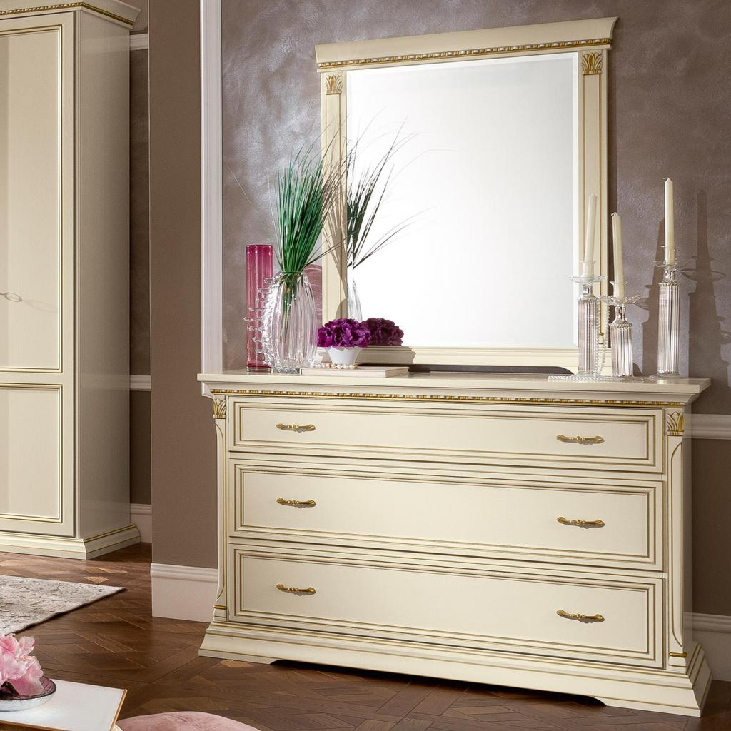 Treviso Ornate Ivory Ash Wood 3 Drawer Chest of Drawers