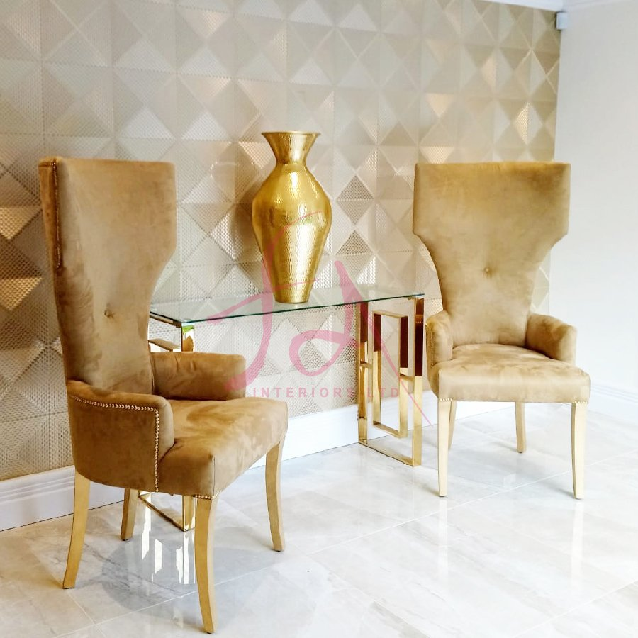 Bespoke Portofino Mirage Antelope Suede & Gold Studded Curved Back Boss Chair