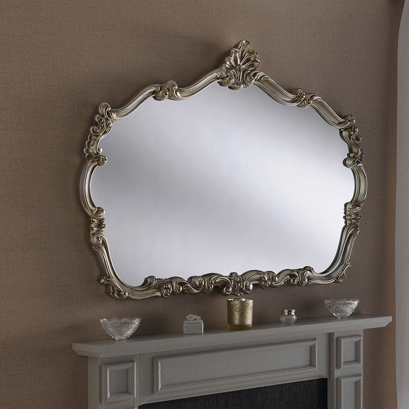 Silver Regency Crested Ornate Mirror