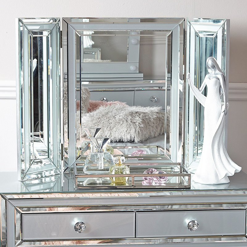 Merrick Grey Glass & Mirrored Triple Vanity Mirror