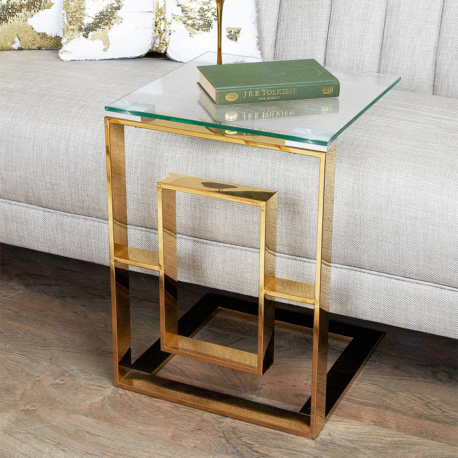 Apex Gold Metal & Glass End Table