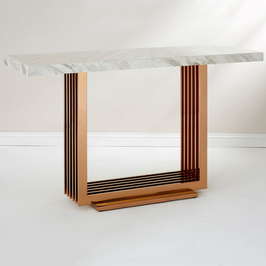 Moda White Marble & Rose Gold Console Table