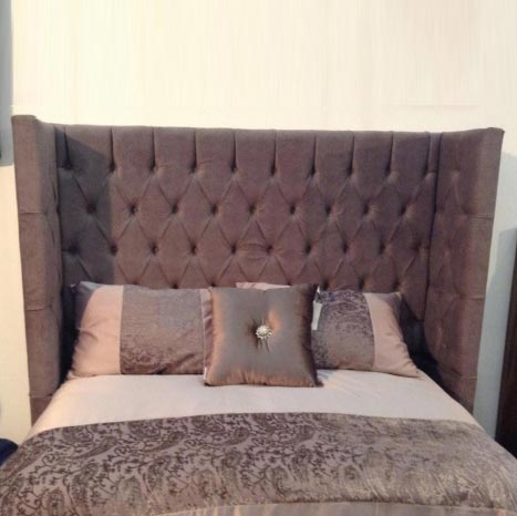 Bespoke Majestic Button or Diamante Crushed Velvet Curved Headboard (Various Options)
