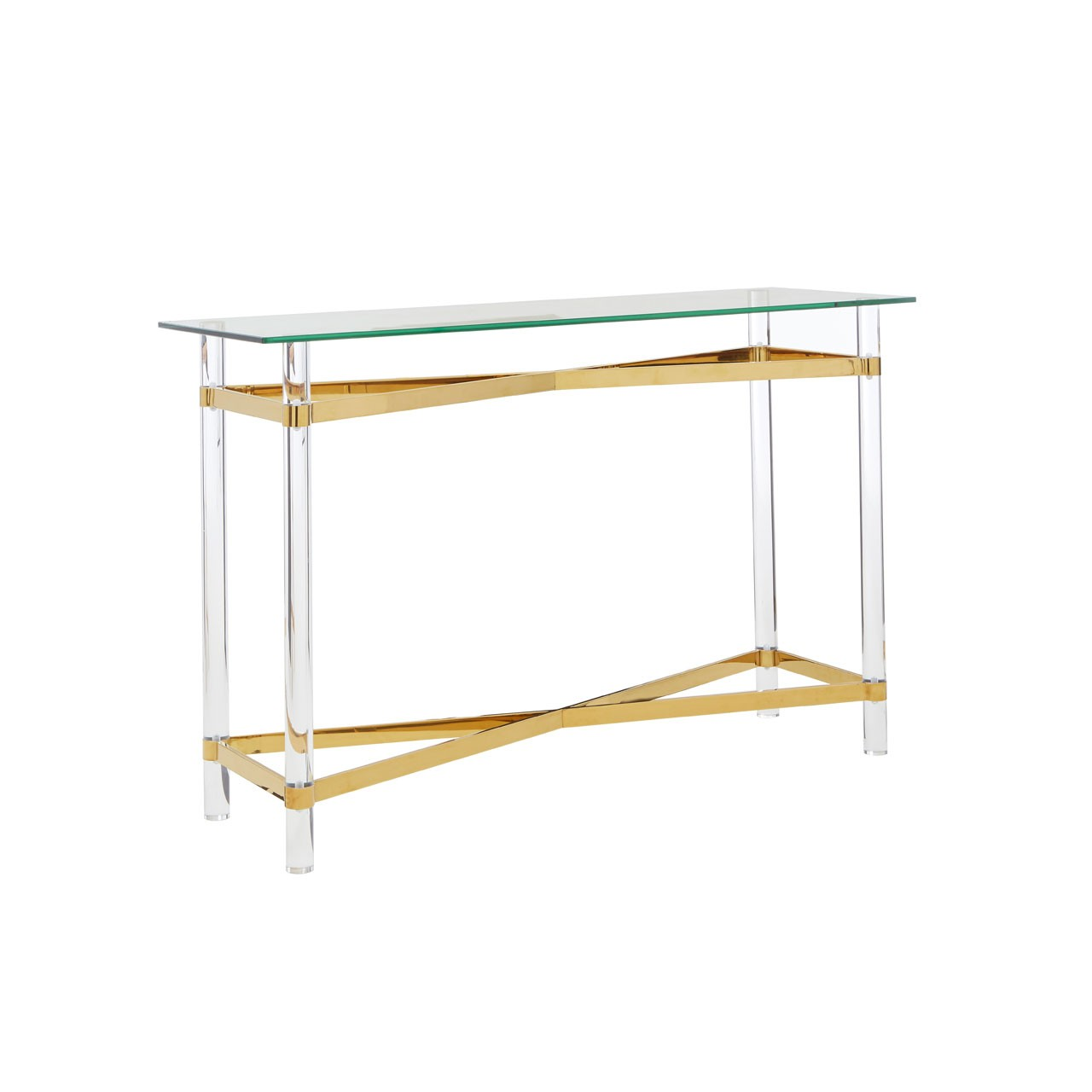 Clarence Glass Gold Console Table