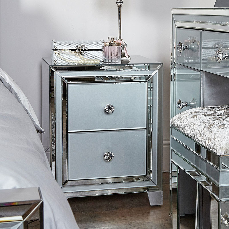 Merrick Grey Glass & Mirrored Diamante 2 Drawer Bedside Table