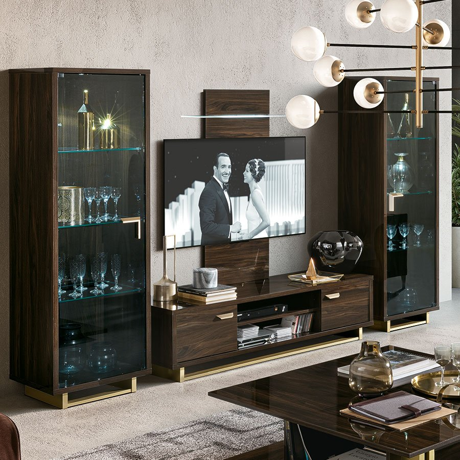 Florentina Walnut & Gold TV Unit, Wall Panel & Display Cabinet Composition