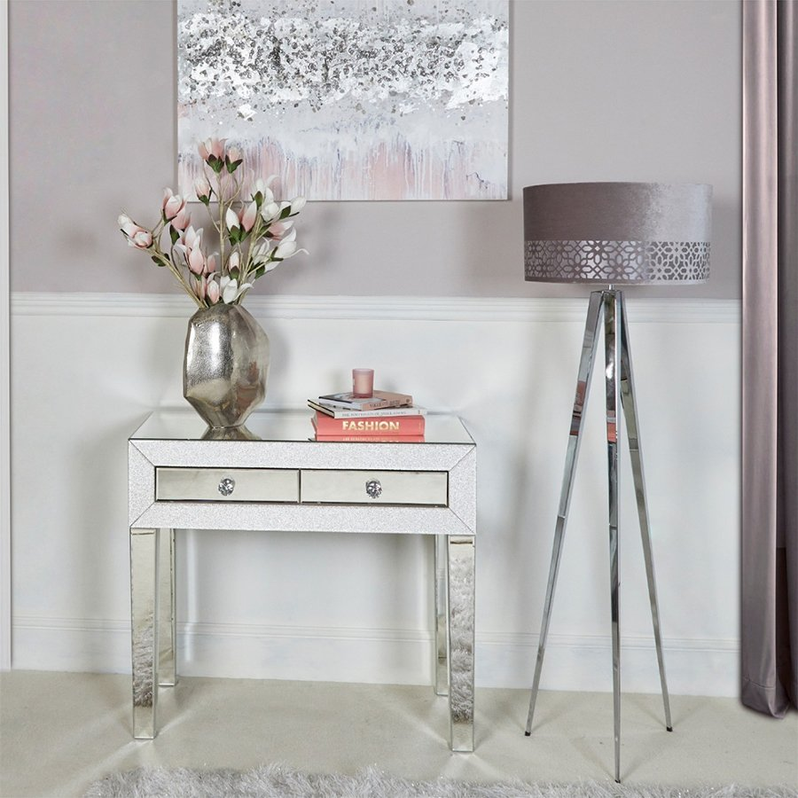 Amy Mirrored Champagne Sparkle 2 Drawer Console Table