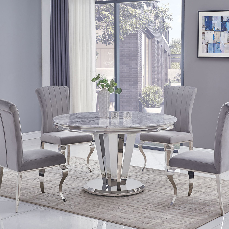 Riccardo Liyana Grey Marble & Chrome 1.3m Round 5 Piece Dining Set - Grey Chairs