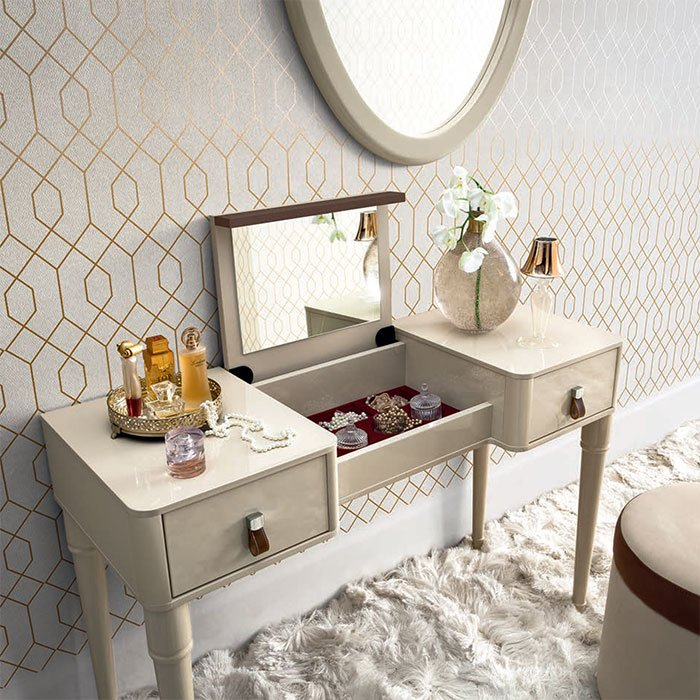 Alegro Cream High Gloss 2 Drawer Dressing Table (with flip up mirror)