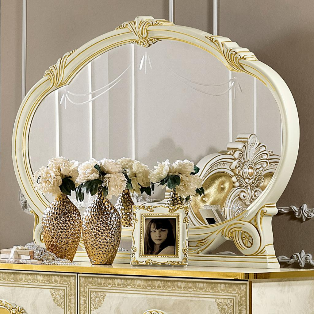 Varazze Ivory High Gloss & Gold Leaf Large Ornate Oval Mantle Mirror