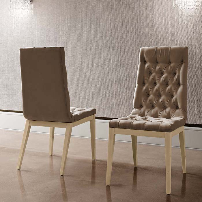 Abrianna Capitonne Brown Nubuck Leather Dining Chair