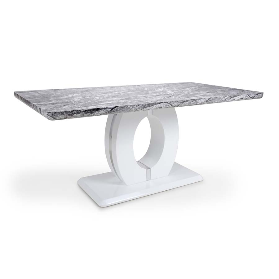 Nepal Grey Marble & White High Gloss 1.8m Rectangular Dining Table