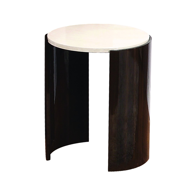Milan Walnut & Cream High Gloss Small Lamp Table