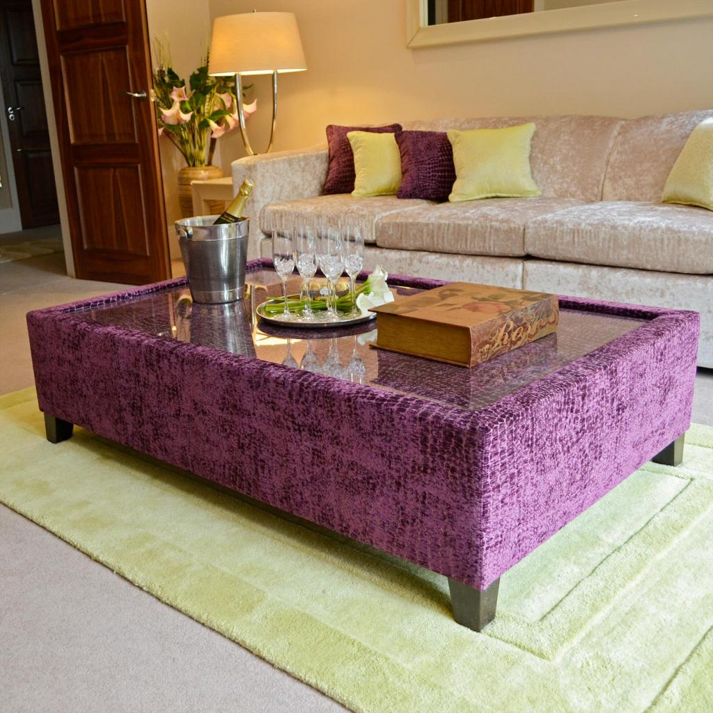 Bespoke Plum Marble Fabric & Glass Coffee Table