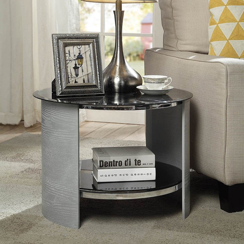 Florence Grey & Black Glass Lamp Table