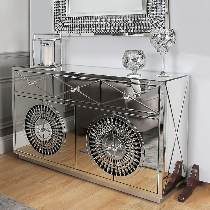 Crawford 4 Door 3 Drawer Mirrored Crystal Sideboard
