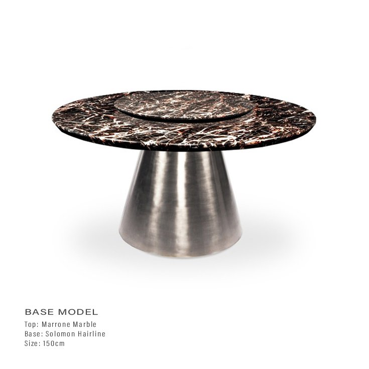 Marrone Brown Marble 1.5m Lazy Susan Dining Table - Solomon Chrome Base