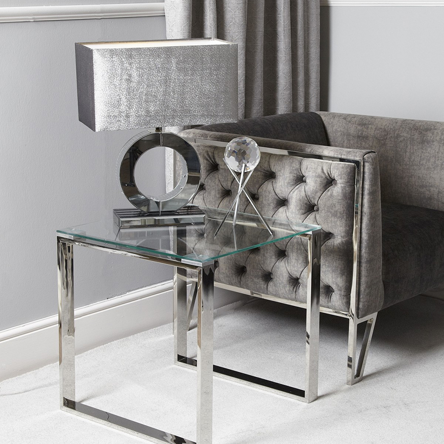 Harley Glass & Silver Trim End Table
