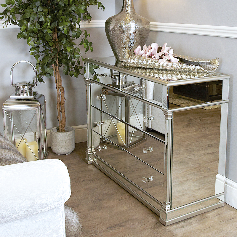 Andreas Silver Trim Mirrored 5 Drawer Chest