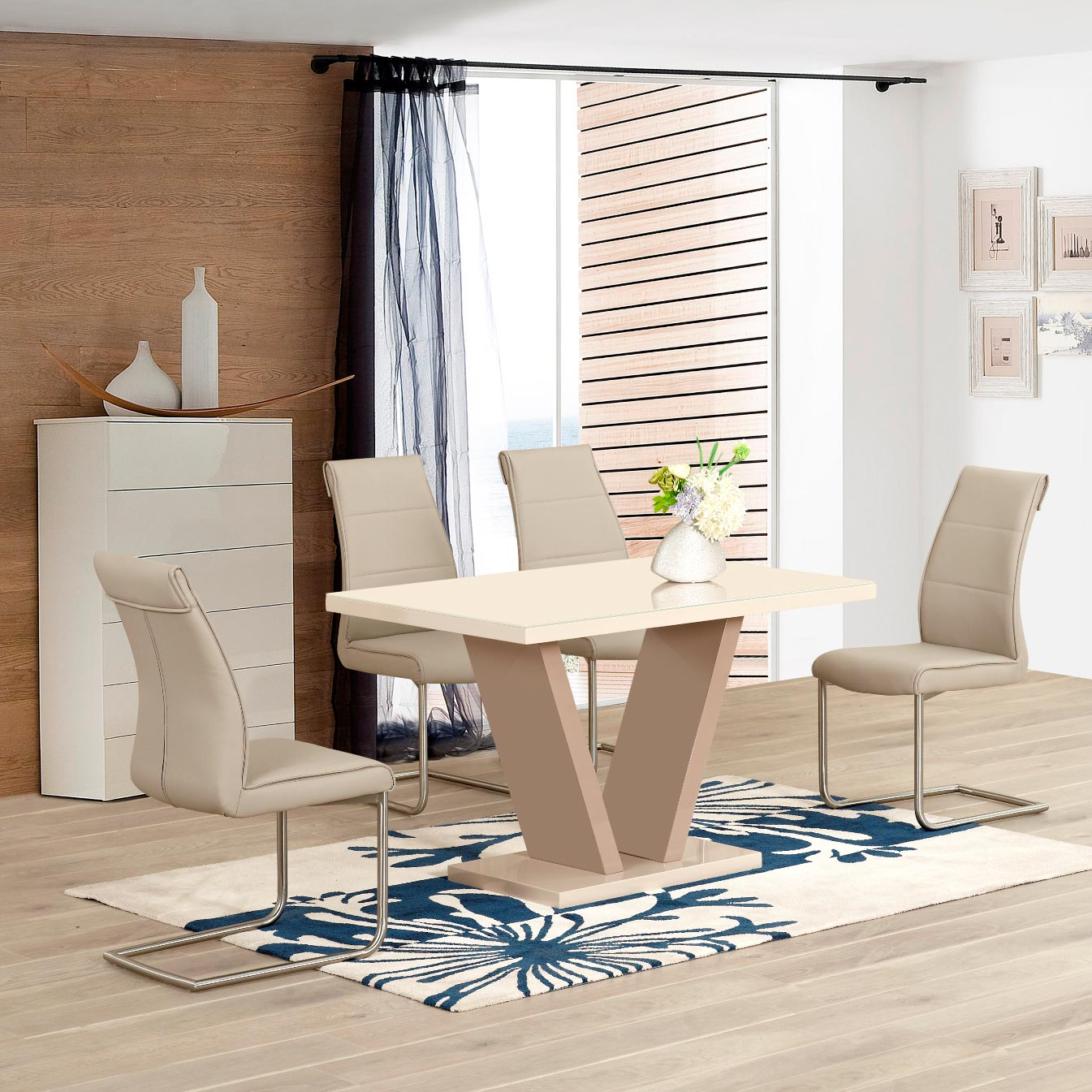 Zara Cream & Taupe High Gloss V Shape 1.6m Dining Table