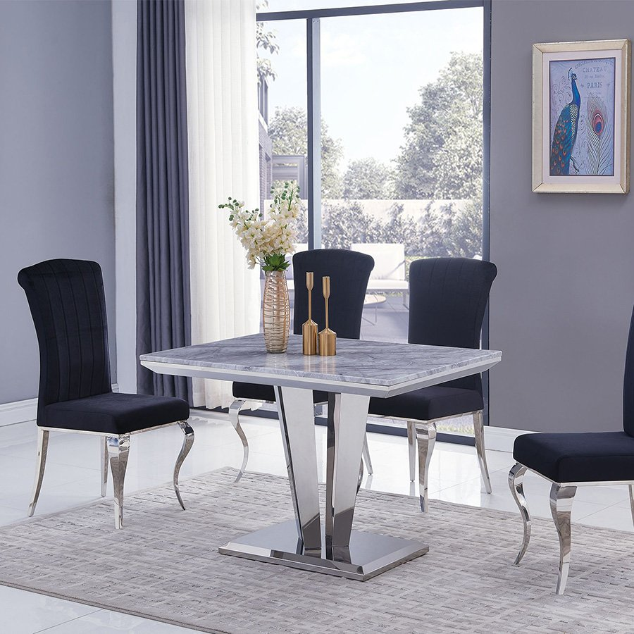 Riccardo Liyana Grey Marble & Chrome 1.2m 5 Piece Dining Set - Black Chairs