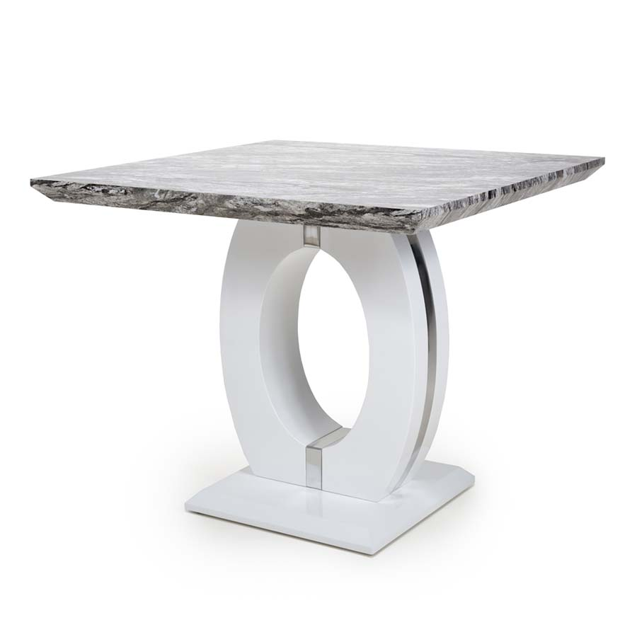 Nepal Grey Marble & White High Gloss 90cm Square Dining Table