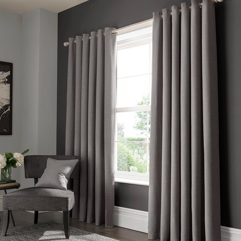 Elba Grey Readymade Eyelet or Pencil Pleat Curtain