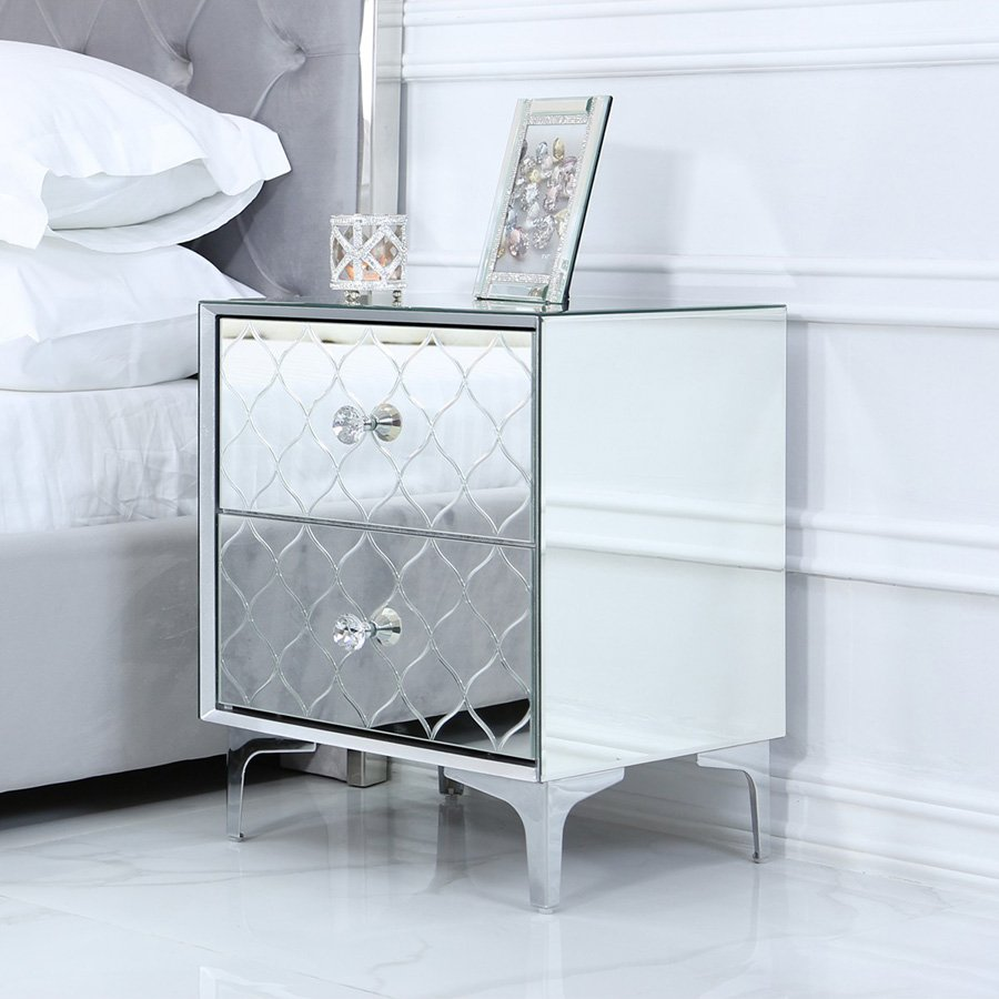 Sara Mirrored Glass 2 Drawer Bedside Table