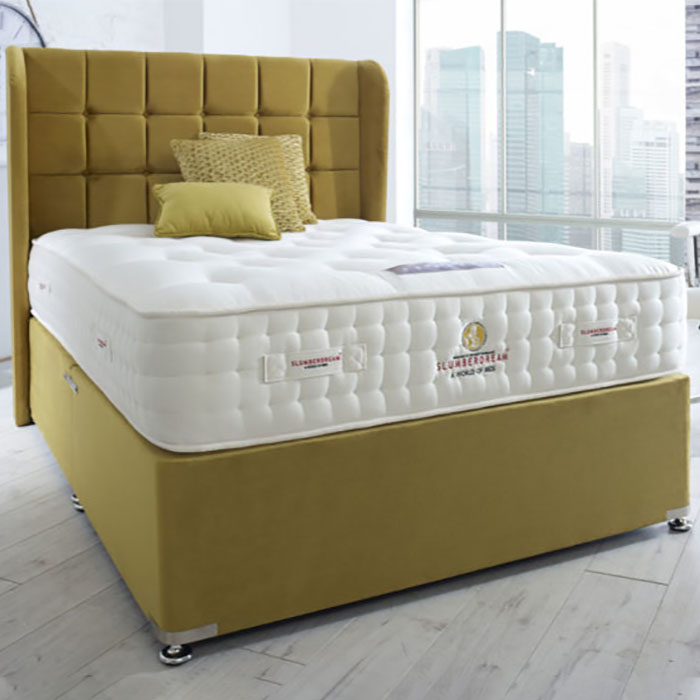 Charisma Winged Headboard, Upholstered Base & Empress Mattress - Various Colours & Sizes