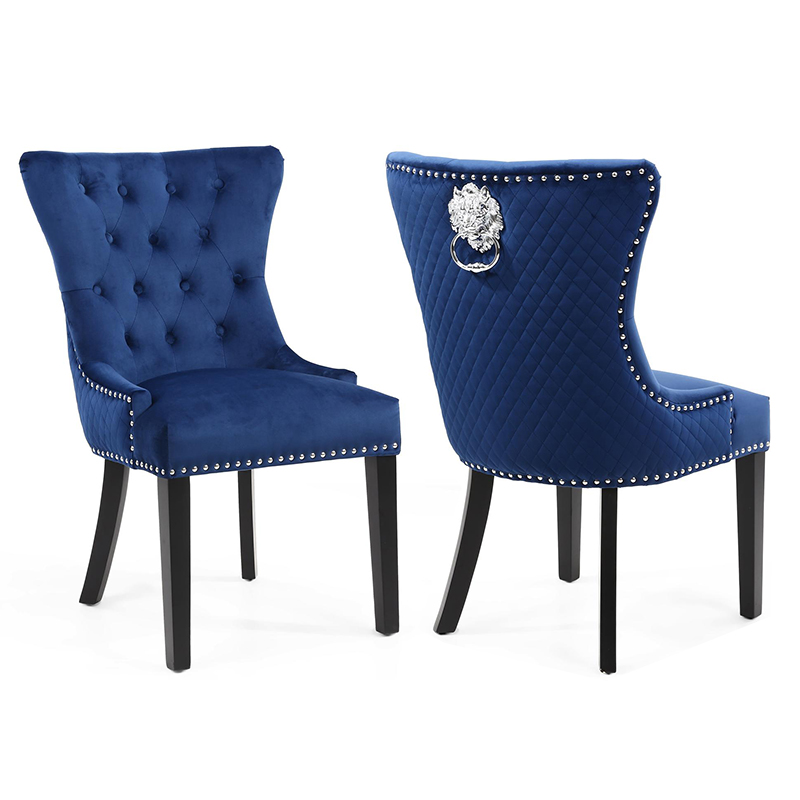 Lewton Blue Velvet Quilted Lion Head Wing Back Knocker Dining Chair