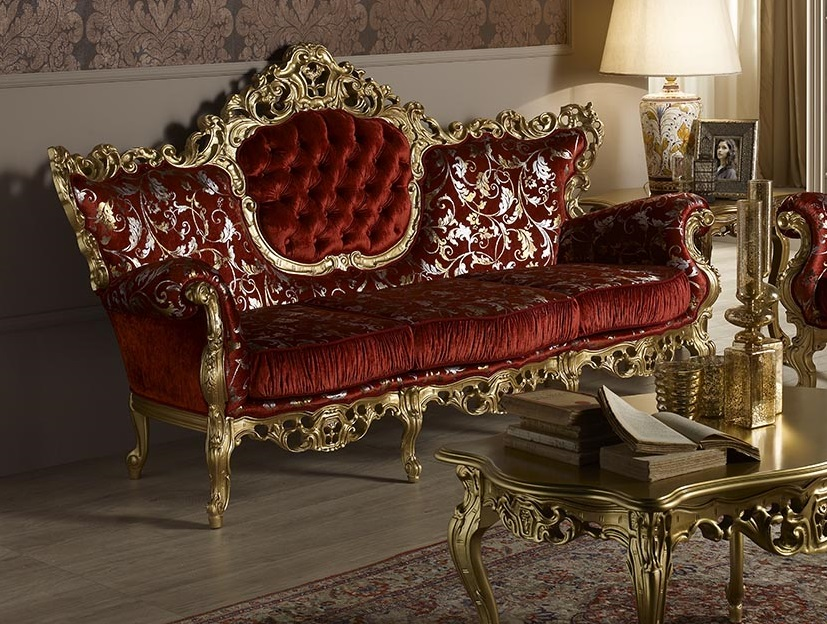 Bellissima Red & Gold Leaf Ornate Buttoned 3 Seater Sofa