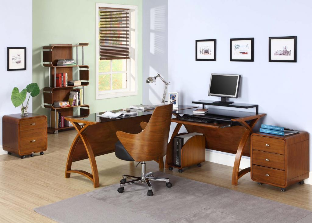 Curve Office Walnut Computer Desk With Executive Chair