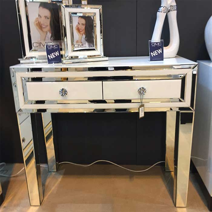 Merrick White Glass & Mirrored Diamante 2 Drawer Console Table