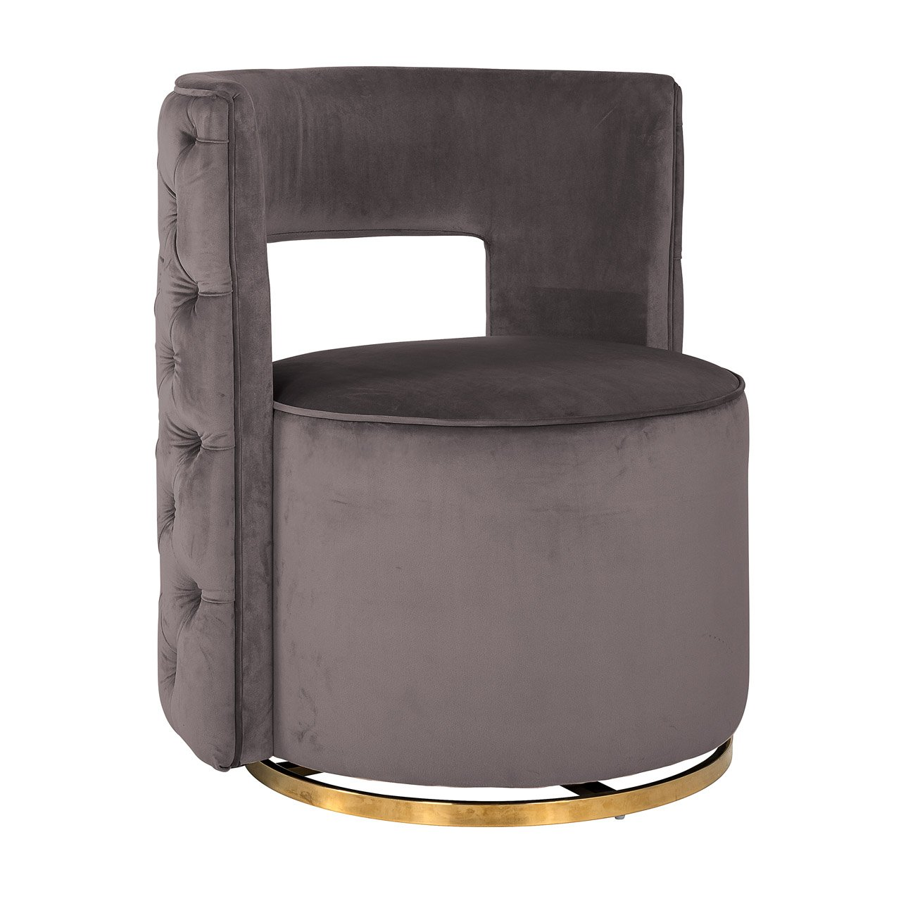 Jemma Stone Grey Velvet & Gold Buttoned Back Feature Chair