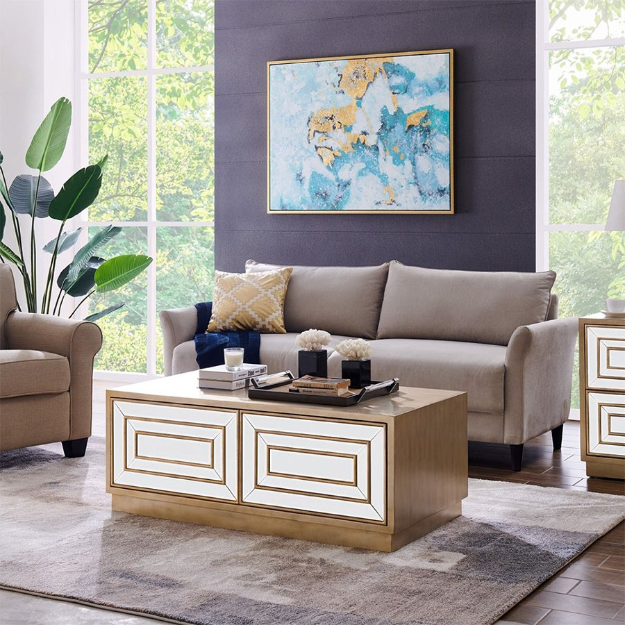 Leyla Mirrored Glass & Gold 2 Drawer Coffee Table