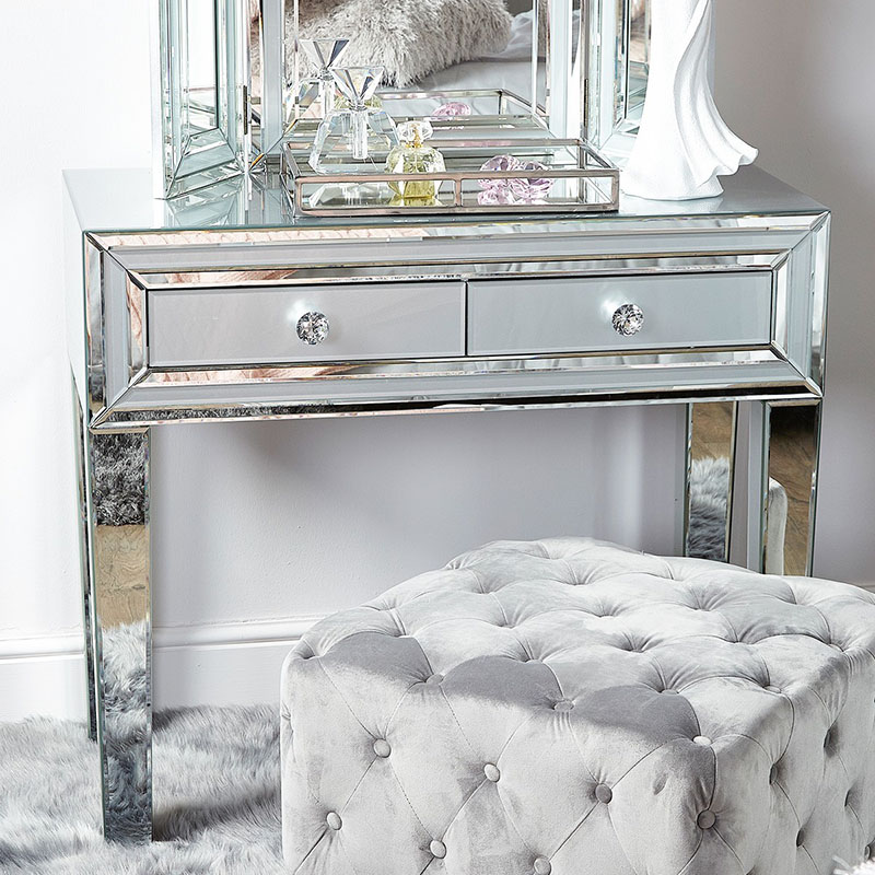 Merrick Grey Glass & Mirrored Diamante 2 Drawer Console Table