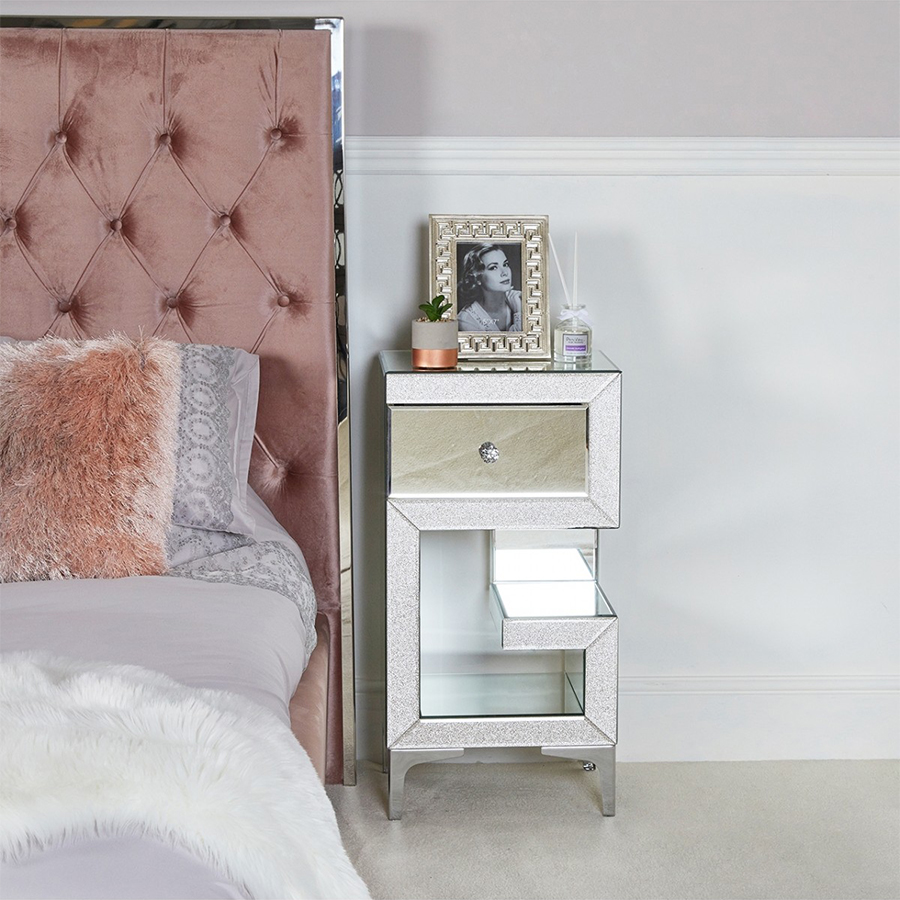 Amy Mirrored Champagne Sparkle Right Side Bedside Cabinet