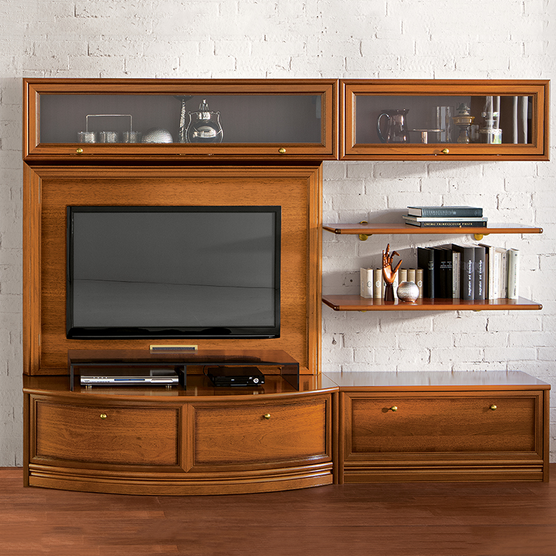 Natalia Walnut Shelving & TV Unit Composition 14