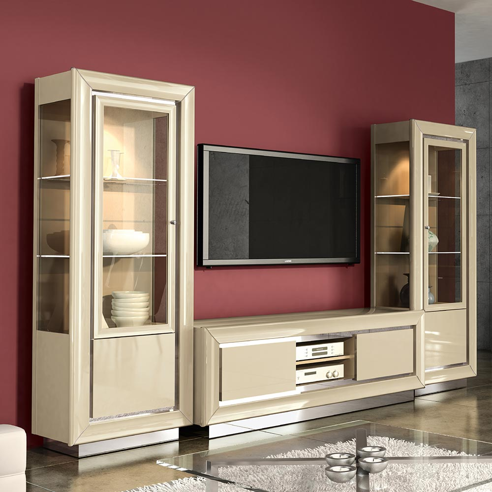 Minton Ivory High Gloss TV Wall Unit With Bridge