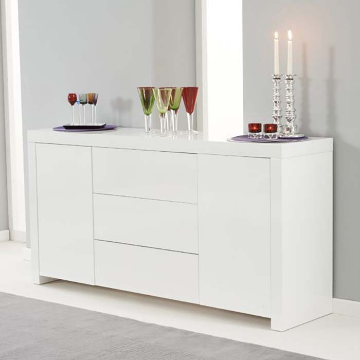 Hereford White High Gloss 2 Door 2 Drawer Sideboard