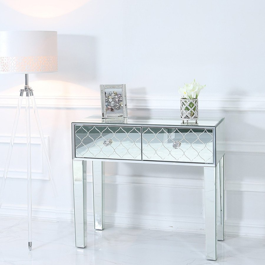 Sara Mirrored Glass 2 Drawer Console Table