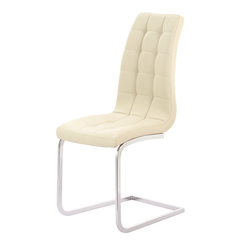 Enzo Cream Faux Leather & Chrome Dining Chair