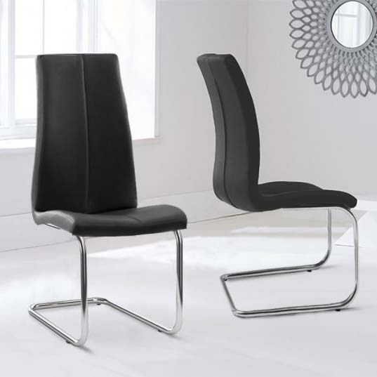 Tonia Black Faux Leather Floating Dining Chair