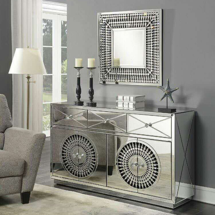 Crawford 4 Door 3 Drawer Mirrored Crystal Sideboard With Square Mirror