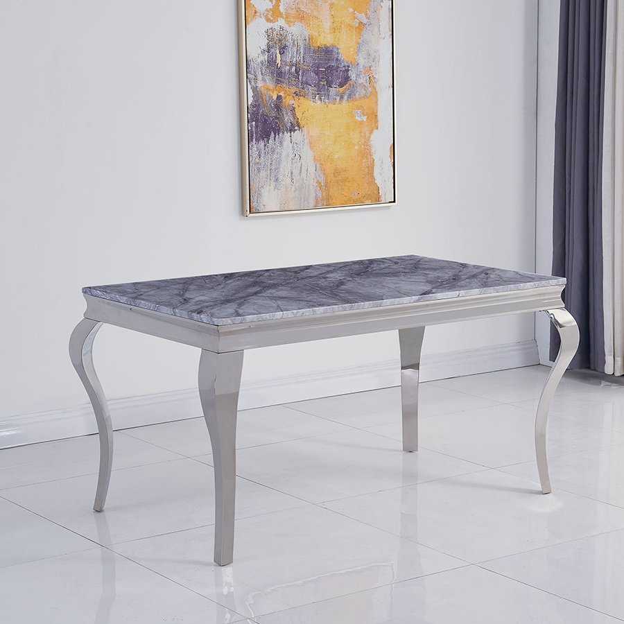 Liyana 1.4m Small Grey Marble & Chrome Dining Table