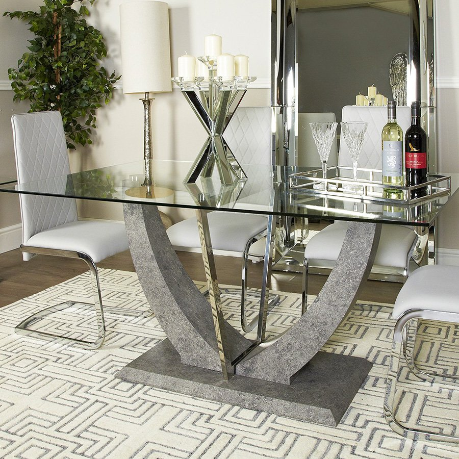 Lex Glass & Stone 1.7m Dining Table