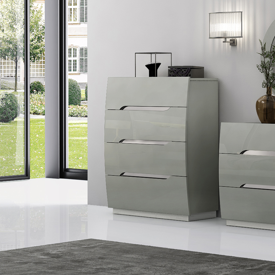 Lopez Cool Grey High Gloss & Brushed Steel 4 Drawer Tallboy